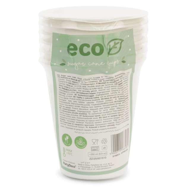 Kubeczki ekologiczne BIO - Trzcina Cukrowa PartyDeco 250 ml  6 szt.