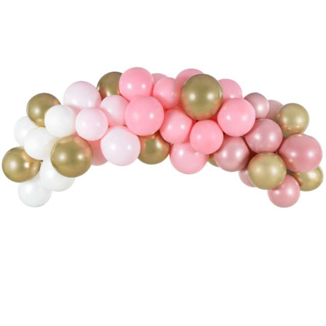 """Girlanda balonowa """"Biało-różowo- złota"""", PartyDeco, zestaw x60"""