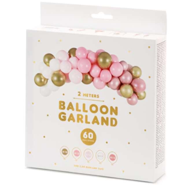 Girlanda balonowa Biało-różowo- złota PartyDeco zestaw x60