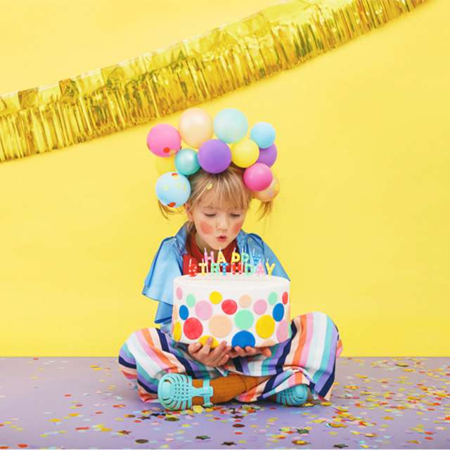 Świeczka Happy Birthday - Kropki mix PartyDeco 25 cm 13 szt