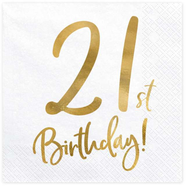 """Serwetki """"21th Birthday - złote urodziny"""", PartyDeco, białe, 33 cm, 20 szt"""