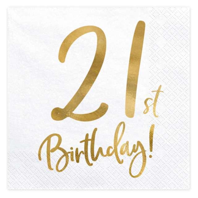 Serwetki Pozłacane - 21 Urodziny PartyDeco 33 x 33 cm 20 szt