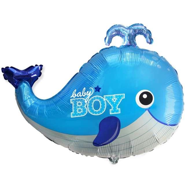 """Balon foliowy """"Baby Boy - wieloryb niebieski"""", Flexmetal, 24"""" SHP"""