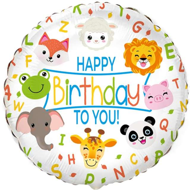 Balon foliowy Happy Birthday Zwierzątka Flexmetal 18 RND