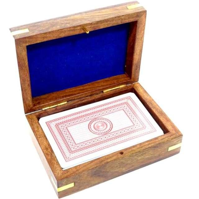 Karty do gry Drewniane pudełko i talia kart Kemiś