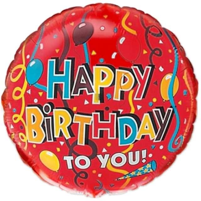 Balon foliowy Happy Birthday z tasiemkami Flexmetal 18 RND