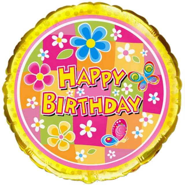 "Balon foliowy ""Happy Birthday"", kolorowy, Flexmetal, 18"", RND"