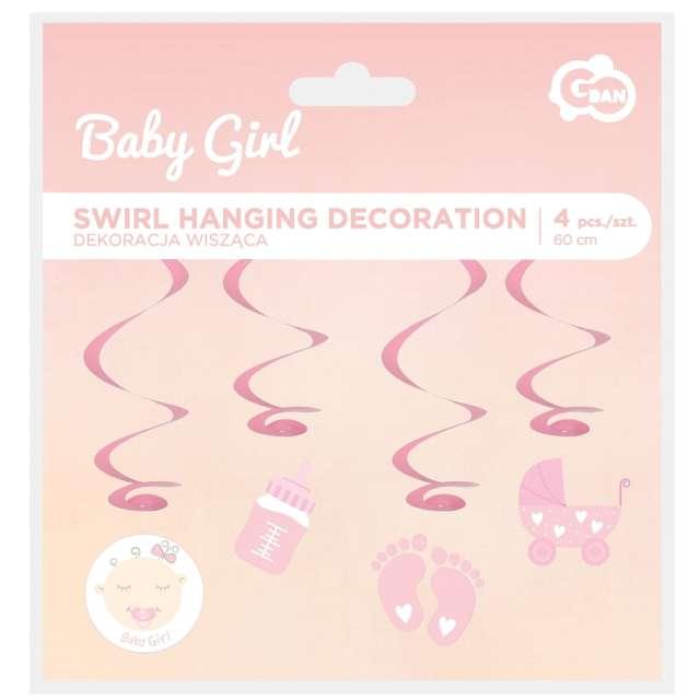 Dekoracja wisząca świderki Shower baby girl różowa Godan 4 szt.