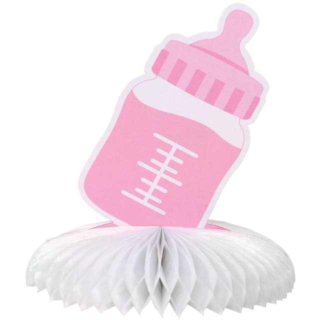 """Dekoracja """"Butelka z rozetą"""", różowa, Godan"""