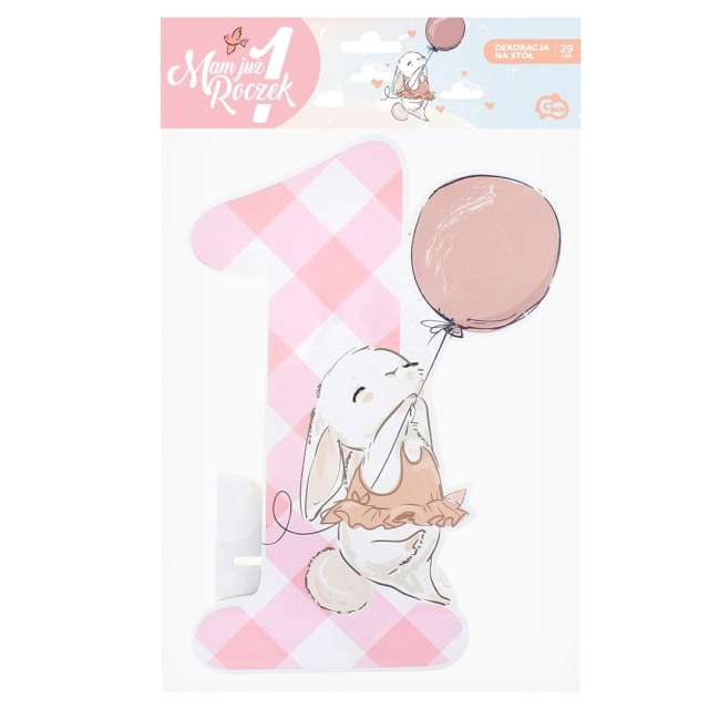 Dekoracja Mam już roczek - króliczek różowa Godan