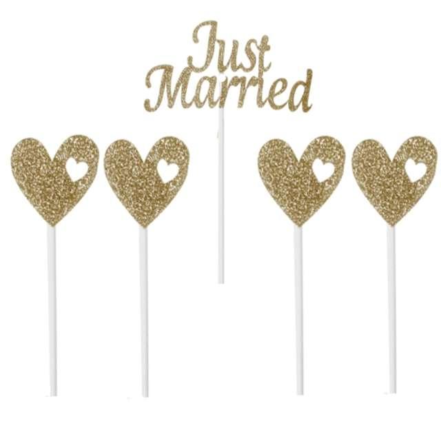"""Pikery """"Just Married"""", złote, Godan, 5 szt"""