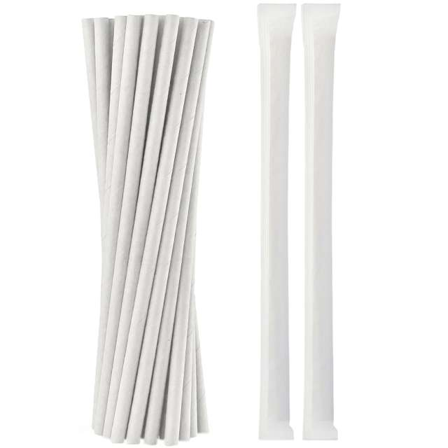 """Słomki papierowe """"Eco shake"""", białe, Godan, 200 szt."""