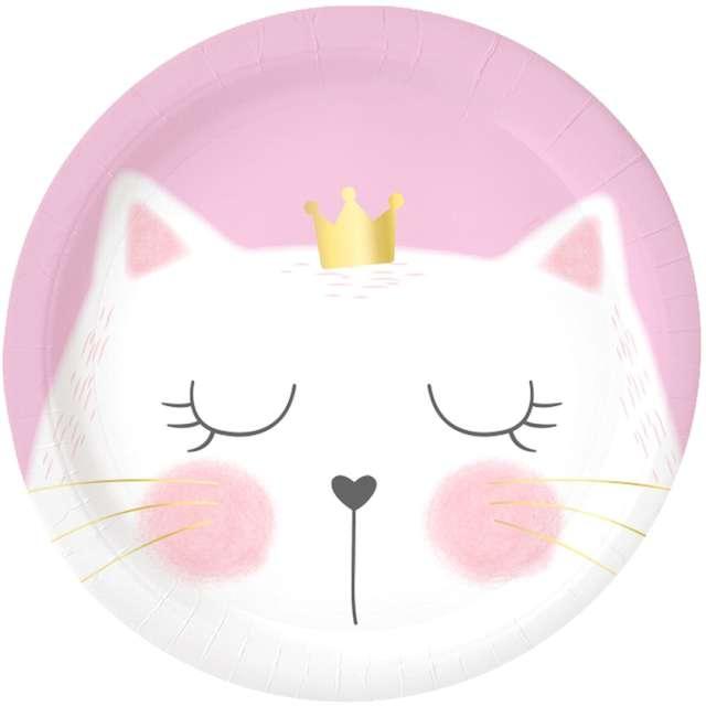 Talerzyki papierowe Kotek z koroną różowe Godan 6 szt
