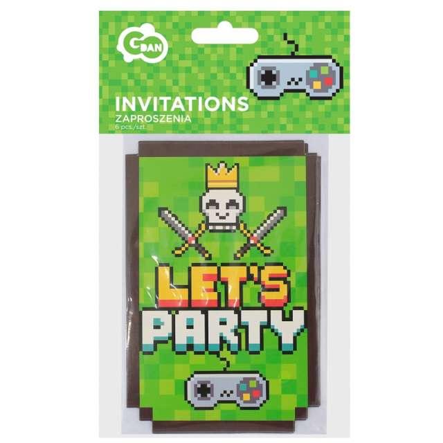 Zaproszenia urodzinowe  Lets party  zielone Godan 6 sztuk