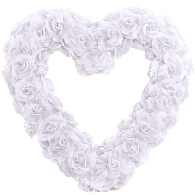Dekoracja Serce kwiatowe biała  PartyDeco 50cm