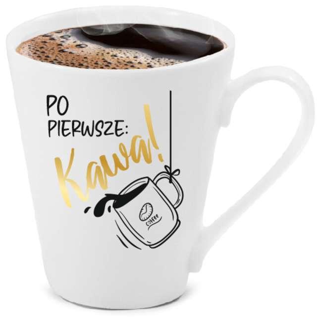 """Kubek """"Po pierwsze kawa"""", biały z nadrukiem, BGtech, 300 ml,"""
