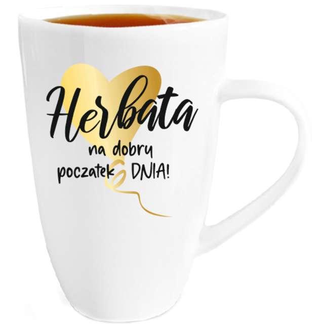 """Kubek """"Przyjemna herbata"""", biały z nadrukiem, BGtech, 400 ml,"""