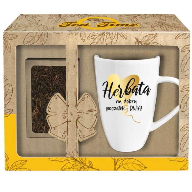 """Kubek """"Przyjemna herbata"""", biały z nadrukiem, z łyżeczką, BGtech, 340 ml,"""