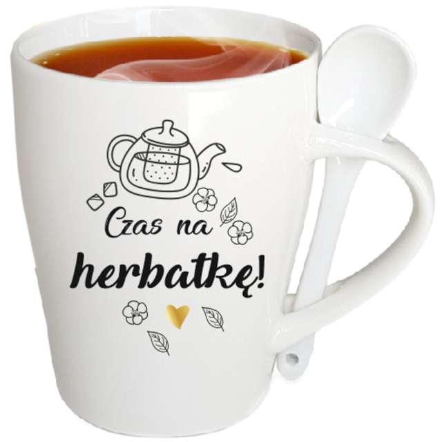 """Kubek """"Czas na herbatę"""", biały z nadrukiem, zestaw, łyżeczka, BGtech, 340 ml,"""