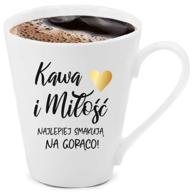 """Kubek z nadrukiem """"Kawa i miłość"""", biały z nadrukiem, BGtech, 300 ml,"""