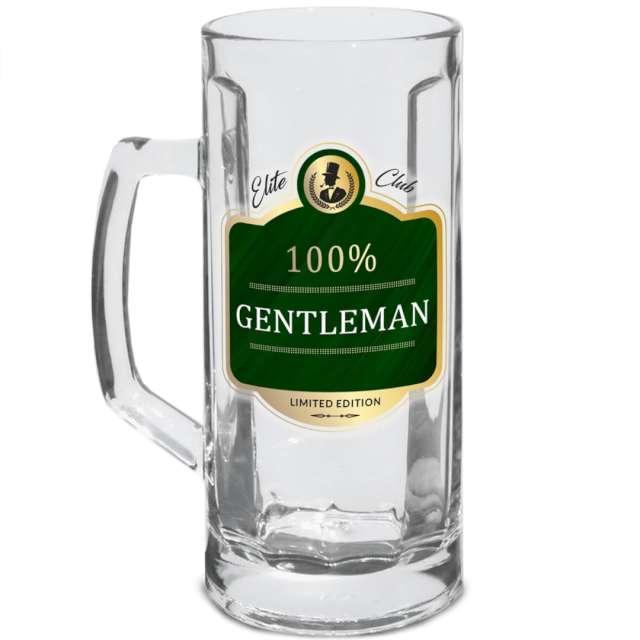 """Kufel szklany """"100% Gentleman"""", przezroczysty, BGtech, 500 ml,"""