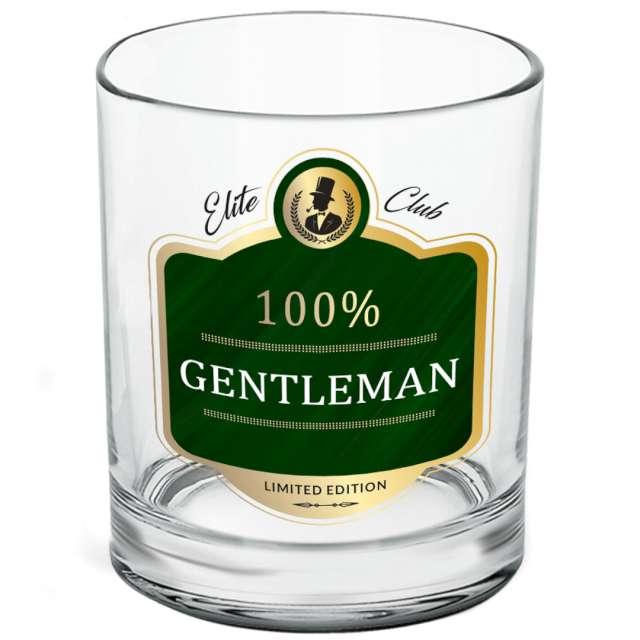 """Szklanka do whiskey """"100% Gentleman"""", przezroczysta z napisem, BGtech, 270 ml"""