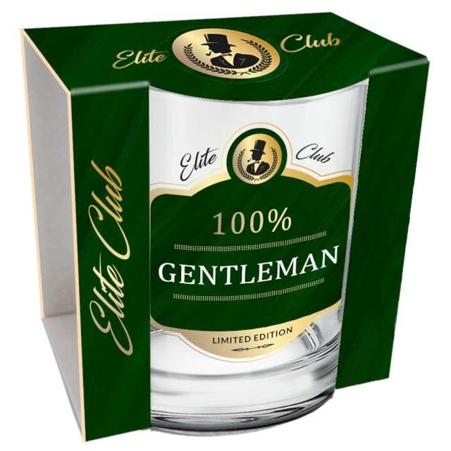 Szklanka do whiskey 100% Gentleman przezroczysta z napisem BGtech 270 ml