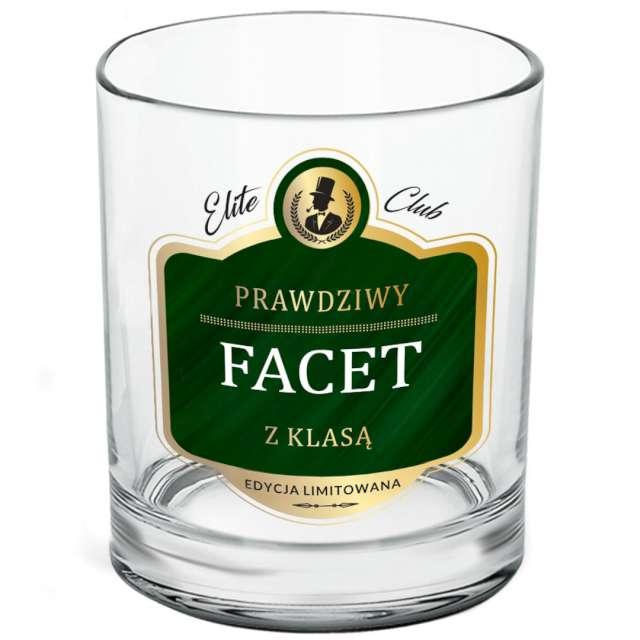 Szklanka do whiskey Prawdziwy facet przezroczysta z napisem BGtech 270 ml