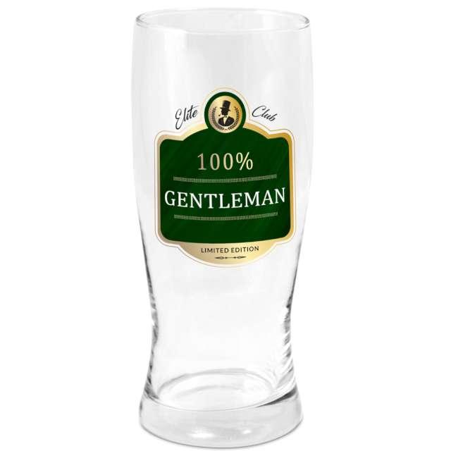 """Szklanka do piwa """"100% Gentleman"""", przezroczysta z nadrukiem, BGtech, 500 ml"""