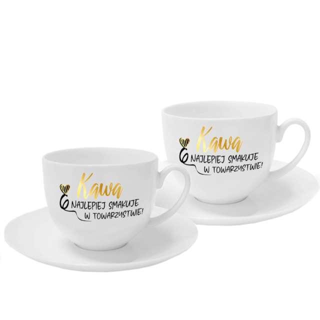 """Zestaw dwóch filiżanek """"Kawa najlepiej smakuje w towarzystwie"""", białe, BGtech, 220ml"""