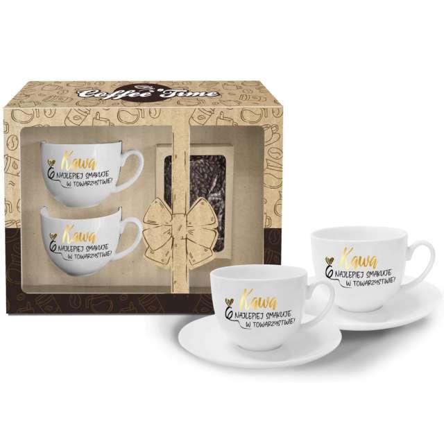 Zestaw filiżanek Kawa najlepiej smakuje w towarzystwie białe BGtech 2 szt
