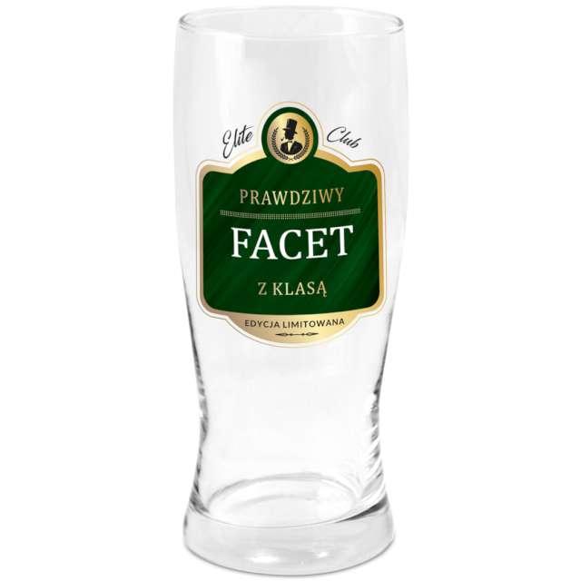"""Szklanka do piwa """"Prawdziwy facet"""", przezroczysta z nadrukiem, BGtech, 500 ml"""