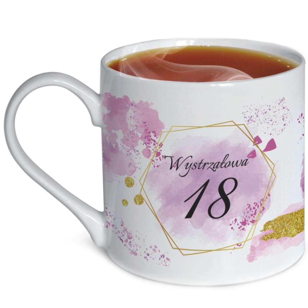 """Kubek urodzinowy """"Z dedykacją 18"""", biały, zdobiony, BGtech, 370 ml,"""