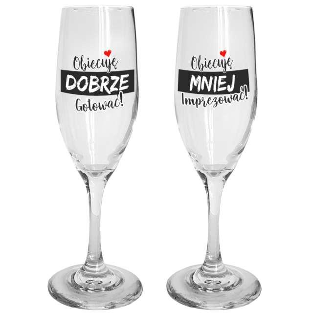 """Kieliszki do szampana """"Dobrze, mniej"""" szklane, BGtech, 170 ml, 2 szt."""