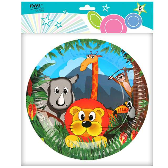 Talerzyki papierowe Zwierzaki Safari Ravi 23 cm 6 szt