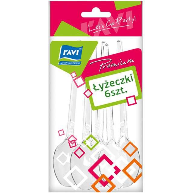 Łyżeczki plastikowe Premium transparentne Ravi 6 szt
