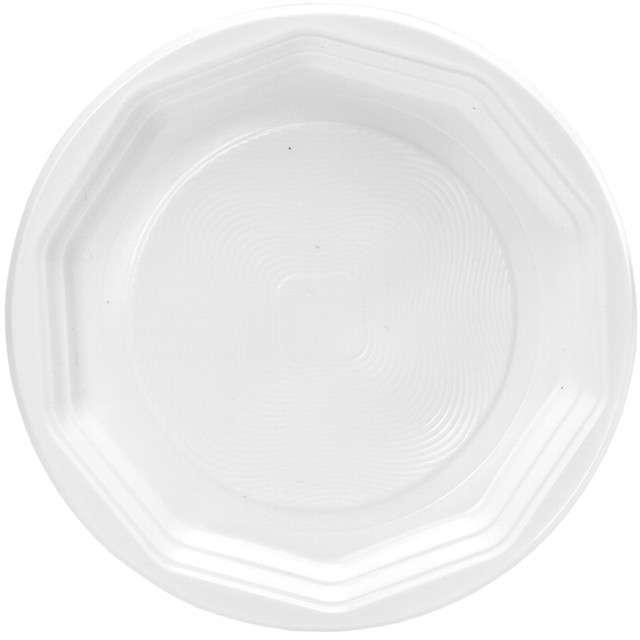 """Talerzyki plastikowe """"Classic"""", białe, Ravi, 22 cm, 12 szt"""