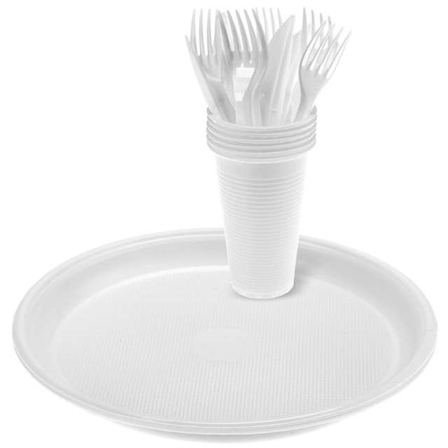 """Zestaw naczyń plastikowych """"Piknik"""", biały, Ravi, 4 x 6 kompl."""