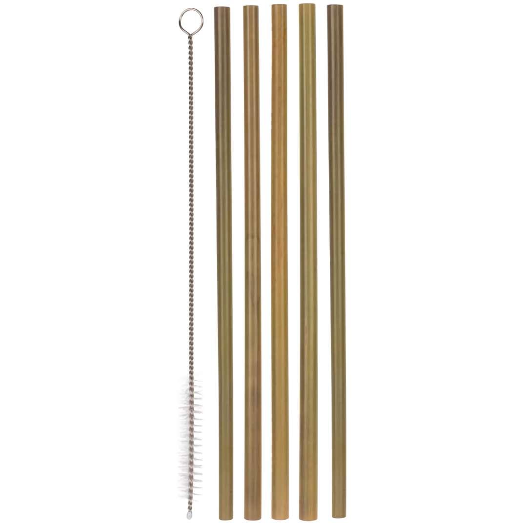 """Słomki bambusowe """"Zestaw ze szczoteczką"""", naturalne, OOTB, 5 szt"""