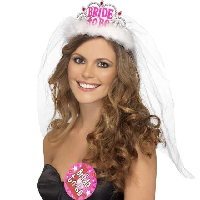 "Korona party ""Tiara Bride to be"", biała, srebrna, Smiffys"
