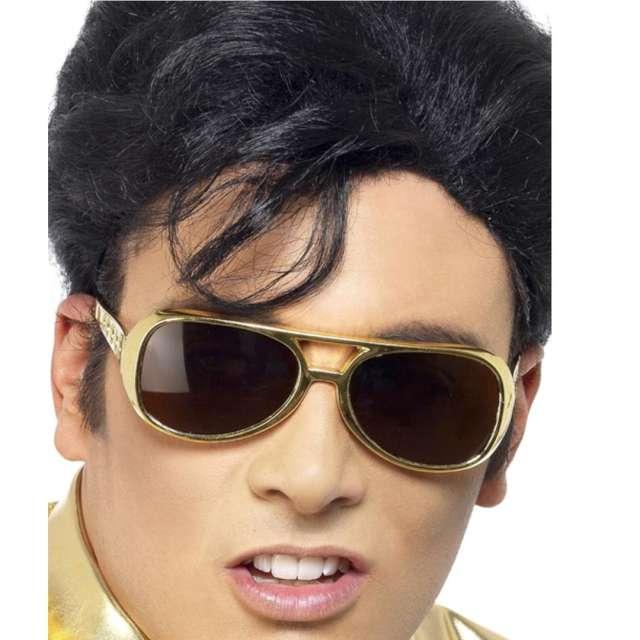"Okulary party ""Elvis Presley"", złote, Smiffys"
