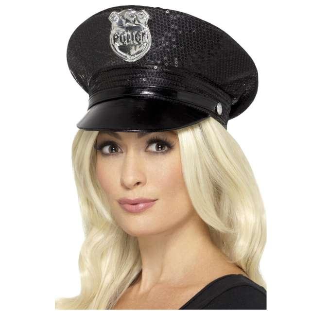 Czapka Policjantka cekiny czarna Smiffys