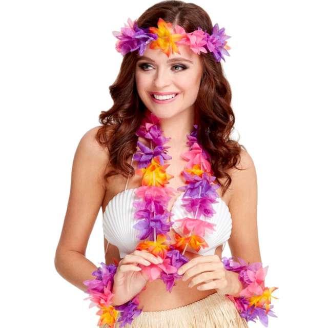Zestaw Hawajskie ozdoby fioletowo - pomarańczowy Smiffys