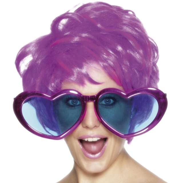 "Okulary party ""Serca Jumbo"", purpurowe, Smiffys"