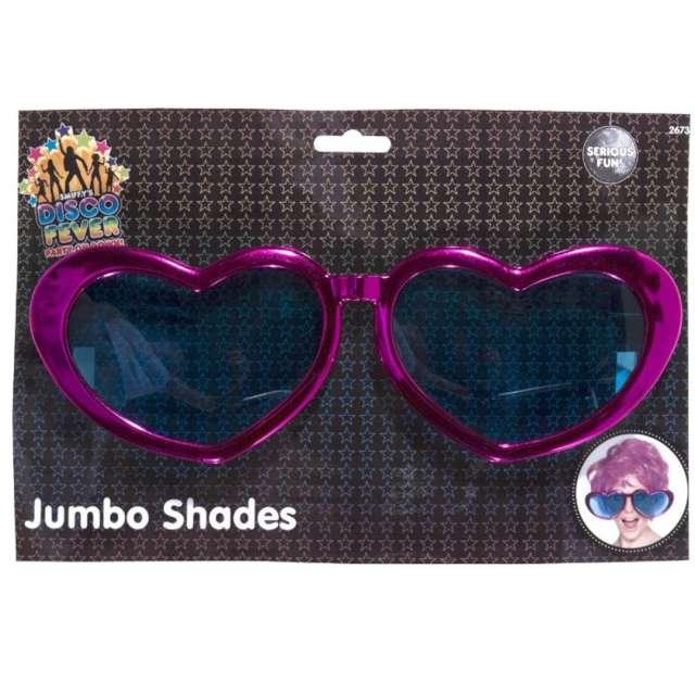 Okulary party Serca Jumbo purpurowe Smiffys