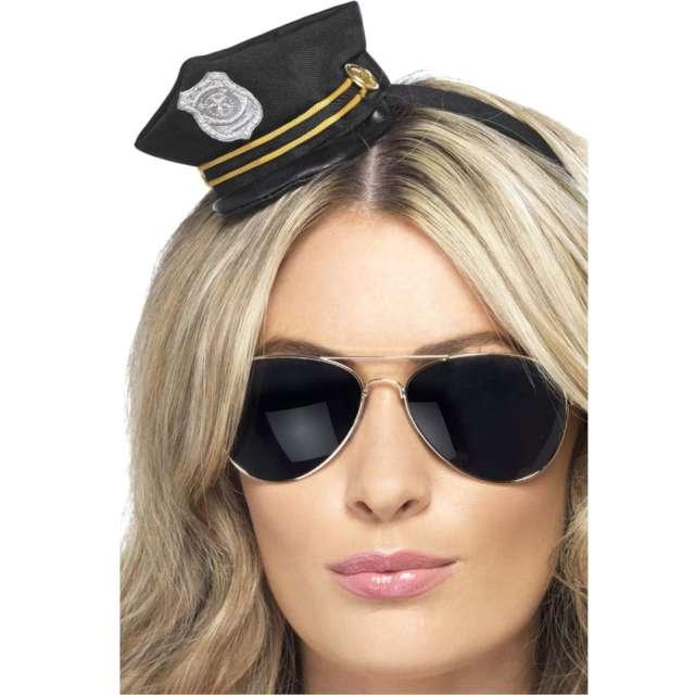 Opaska party Mini kapelusz policjantki czarny Smiffys