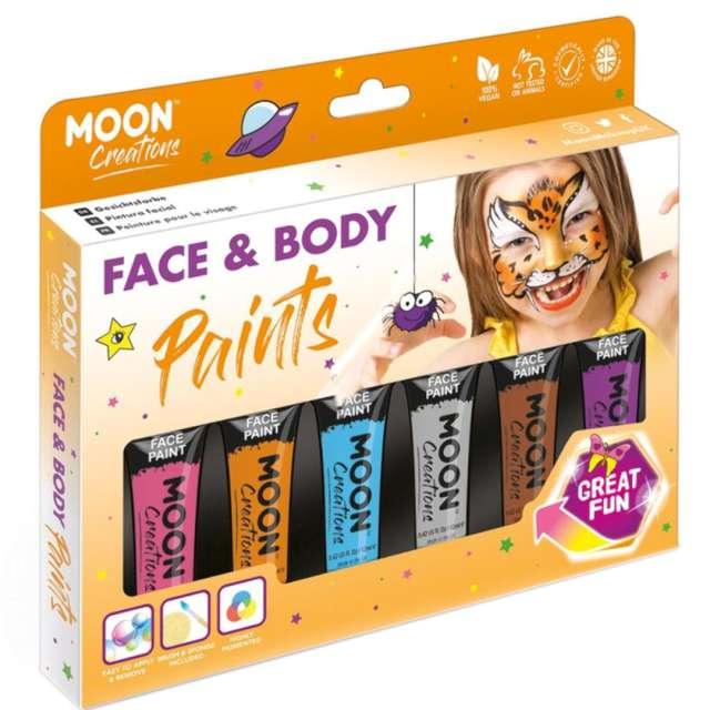 Make-up party Farbki do twarzy Safari mix Smiffys 6 szt.