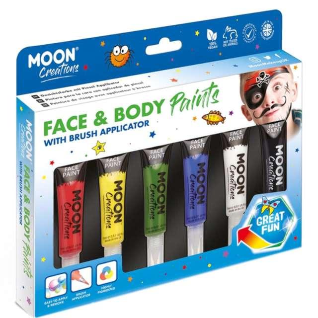 Make-up party Farbki do twarzy z aplikatorem mix Smiffys 6 szt.
