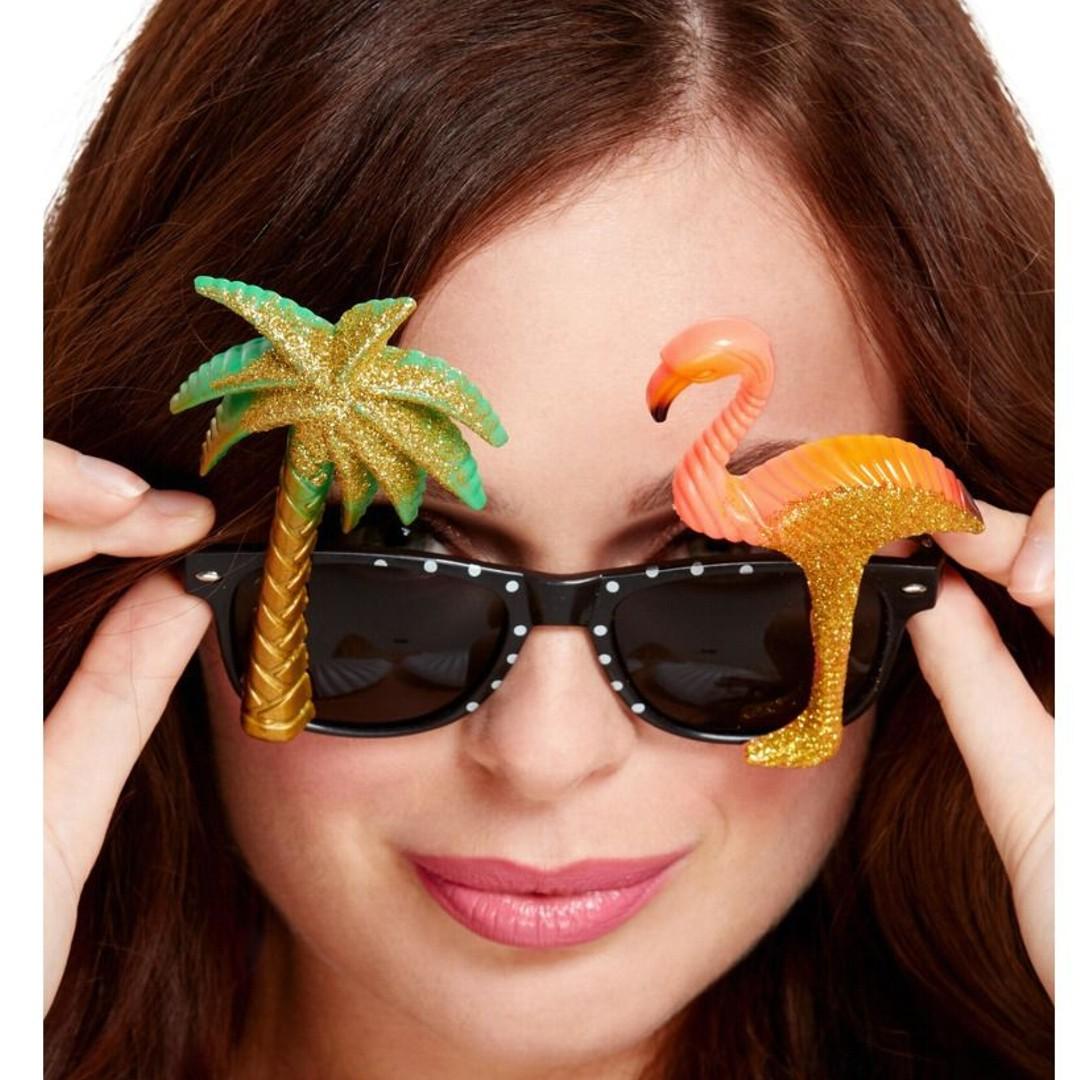 Okulary party Flaming i palma czarne z cyrkoniami Smiffys