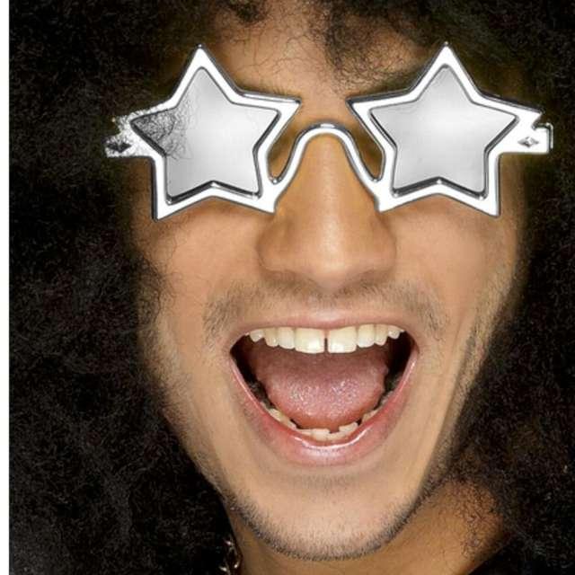 Okulary party Gwiazda myzyczna srebrne Smiffys